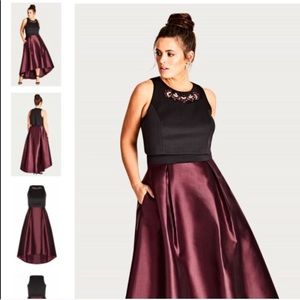 City Chic Regal Me High-Low Dress in Jewel Tones